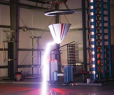 d07036711 lightning test laboratory. A 2.4-megavolt generator produces a strike to  test the lightning strike protection (LSP) system on the part.
