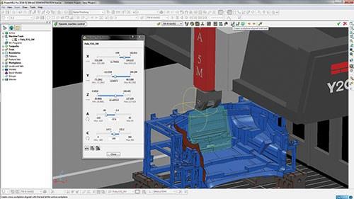Delcam's PowerMill CAM software's Dynamic Machine Control toolbar