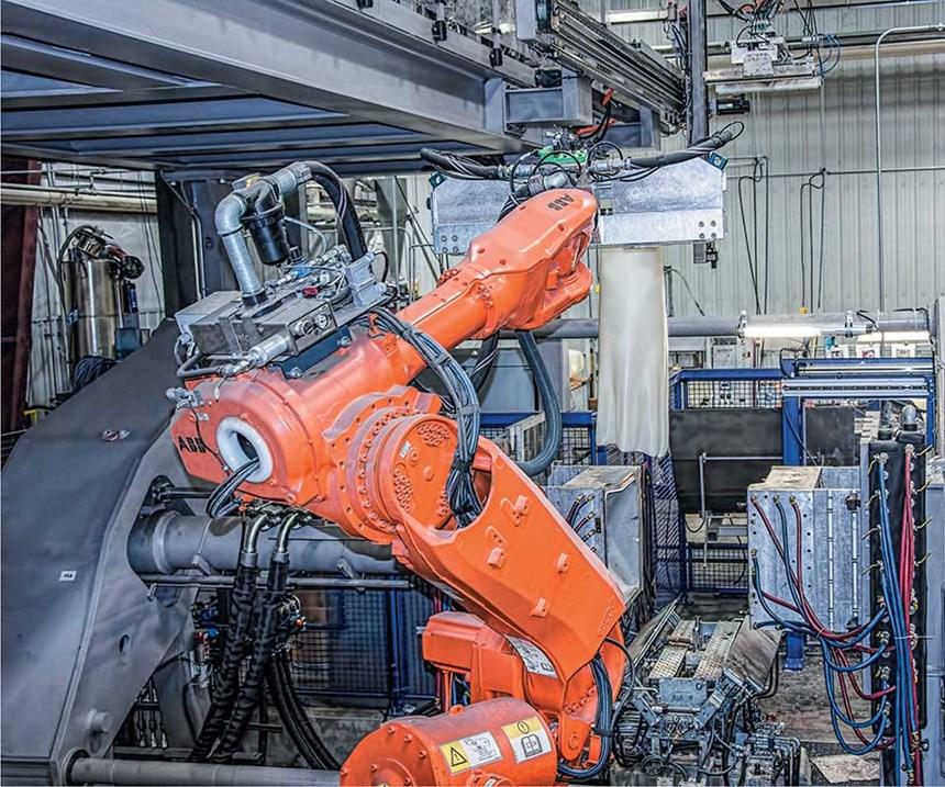 Six-axis robot parison handling.