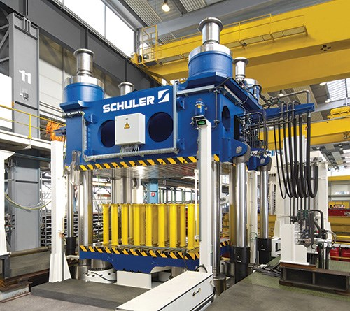 Press for producing composite components.
