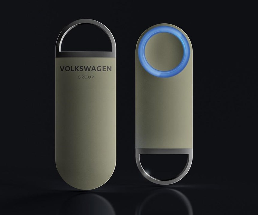 The OneButton can be used to summon Sedric, the Level 5 (no steering wheel, no pedals) vehicle developed by Volkswagen Group. As a concept, that is.