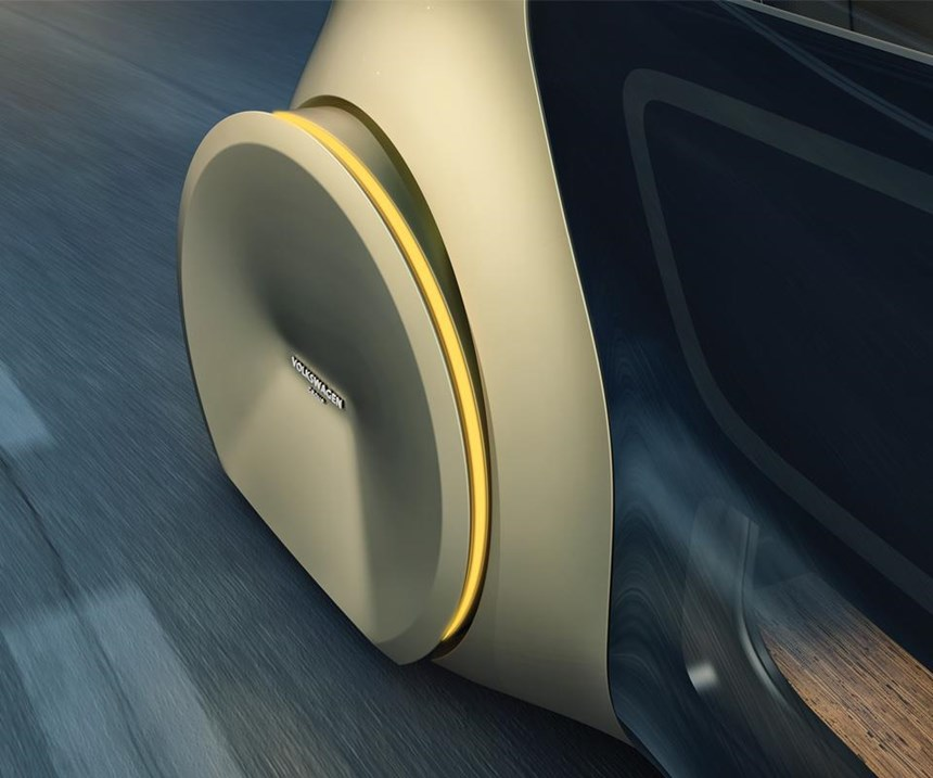 While fender skirts can improve aerodynamic efficiency, chances are this is more about Sedric being a futuristic concept than something that needs to slip through the air at high velocity.