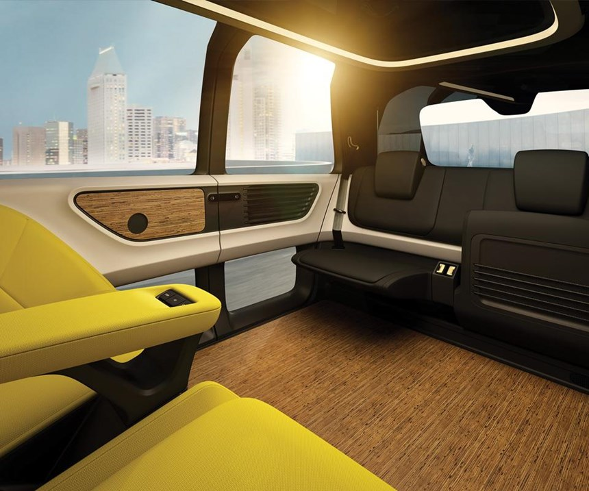 The seat material is birch leather. There is an emphasis on natural materials on the inside, even though Sedric is a technologically advanced vehicle.