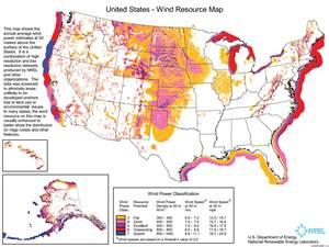 U.S. Wind Resources Map