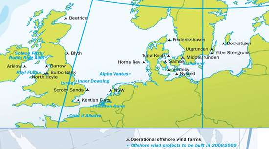 EWEA offfshore wind farm installations chart