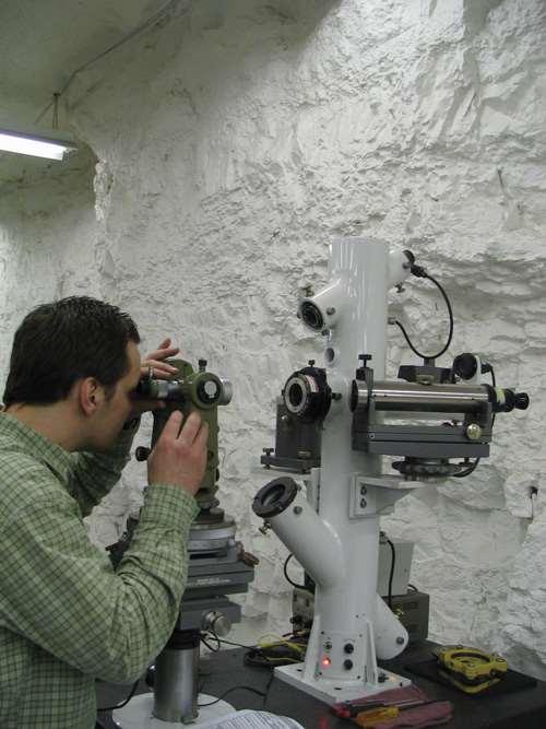 Calibration technician checks instrument