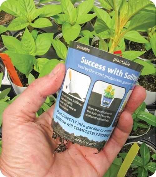 Ball Horticultural's SoilWrap potis made of Mirel PHA sheet from Telles that biodegrades in soil