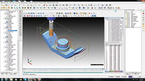 Screenshot of tool paths in BobCAD/CAM's V27 Mill Pro