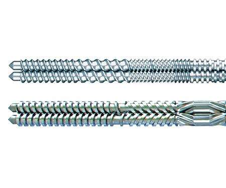 Co-rotating and counter-rotating twin screw sets