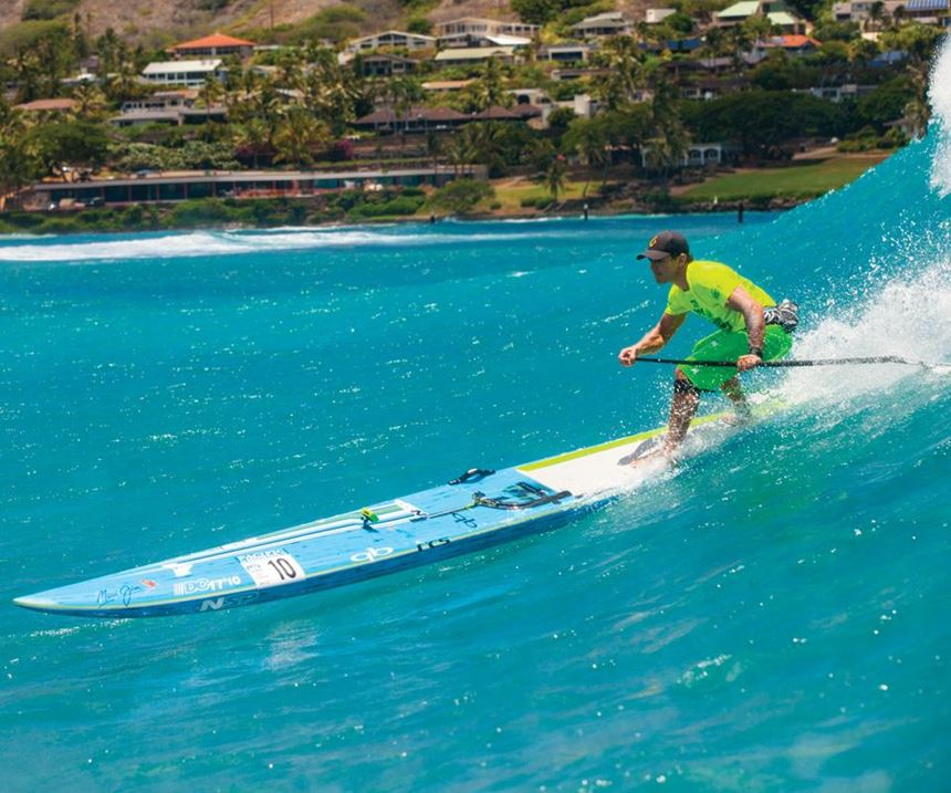 Travis Grant on the NSP Molokai Pro Carbon stand-up paddleboard