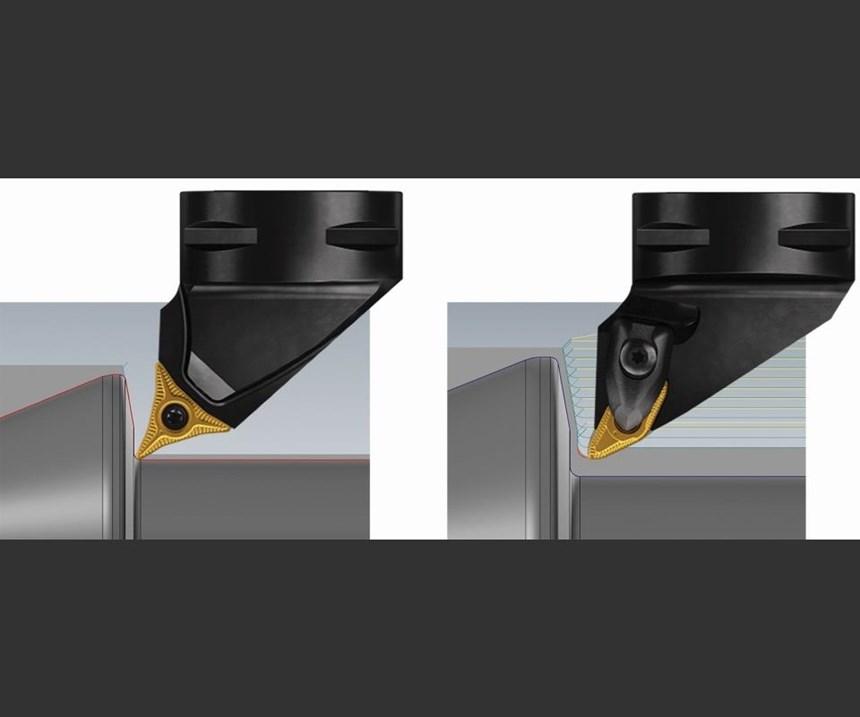 Se ofrecen dos tipos de plaquitas CoroTurn Prime. El tipo A (izquierda) está diseñado para mecanizado ligero, mientras que el tipo B está diseñado para mecanizado en desbaste