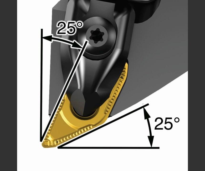 Ambos tipos de insertos presentan ángulos apropiados para torneado convencional y hacia atrás.