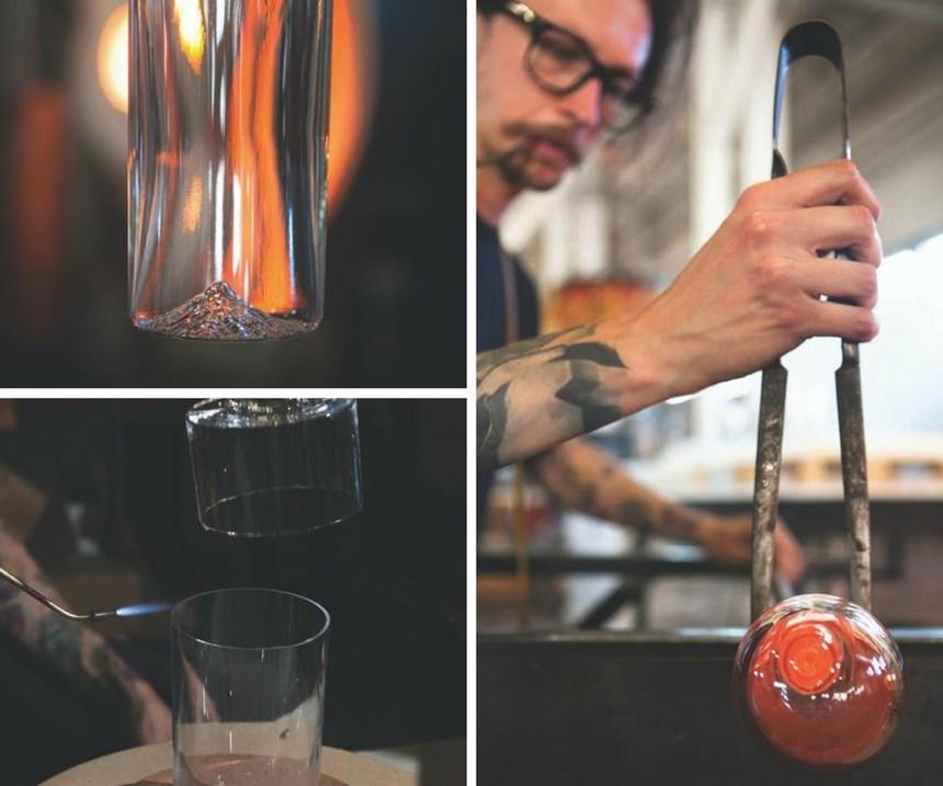 Los artesanos necesitan dos días y más de 15 pasos para crear un vaso North Drinkware soplado a mano. La compañía ofrece actualmente cuatro diseños de montaña.
