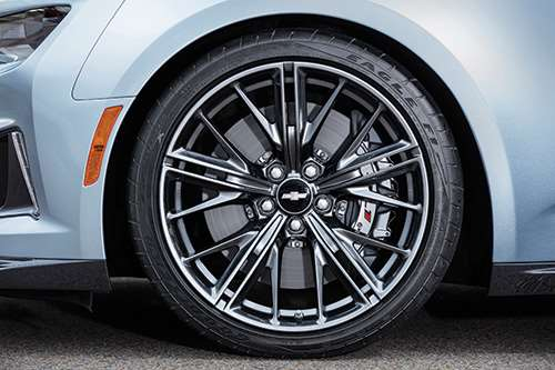 Unique 20-inch forged aluminum wheels and Brembos with 15.35-inch,  two-piece, front brake rotors.