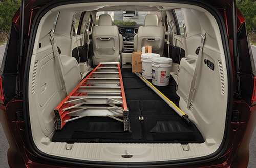 """Once a key indicator of whether something was a """"legitimate"""" minivan or not was its ability to handle a 4 x 8-sheet of plywood. Although the Pacifica offers top-notch passenger amenities, its exclusive Stow 'n Go seating, it still offers the ability to swallow DIY needs. The maximum volume behind the first row is 140.5-ft3."""