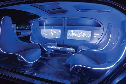 This is not the inside of a lounge. Rather, it is the interior of the Mercedes F015, an autonomous concept vehicle. One challenge is determining how to setup the airbags such that in the case of collision, the occupants are appropriately positioned. This may involve sensors on the outside of the vehicle to determine a collision is imminent, then cameras on the inside to determine where people are sitting, then airbags that may deploy early to help position the people before the crash occurs.