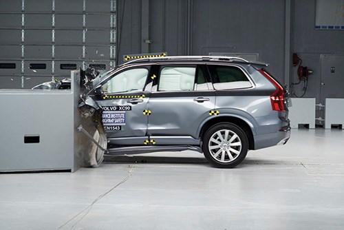 "Here is a Volvo XC90 undergoing the small overlap test at the Insurance Institute for Highway Safety (IIHS) facility. In case you're wondering, the second-generation of the full-size SUV received an IIHS Top Safety Pick+ rating, having both the fundamental structure necessary to meet the crash tests as well as the technology necessary to help avoid or mitigate front-end collisions. As for the first point, some 35 percent of the vehicle's body-in-white is made with hot-stamped boron steel. Then there is an array of technology under the banner ""City Safety"" that is based on radar and camera technology housed in the vicinity of the rearview mirror that helps prevent collisions by warning the driver and fully applying the brakes should the warning be ignored."
