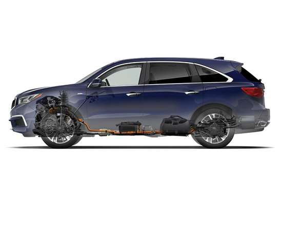 When the third-generation MDX was being developed, the engineers took into account that there would be a hybrid version developed. Consequently, there are but minor modifications to the chassis to contain the electrified powertrain. The dimensions of the 2017 MDX Sport Hybrid are: 110.0 inches, wheelbase; 196.2 inches, length; 67.6 inches, height; and 77.8 inches, width, which are the same as the non-hybrid, 3.5-liter, V6 powered version of the crossover.