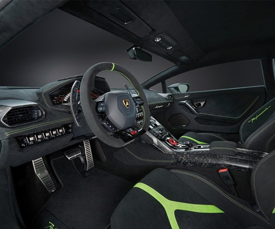 The interior makes extensive use of composites for many of the components. The fabric used throughout is Alcantara.