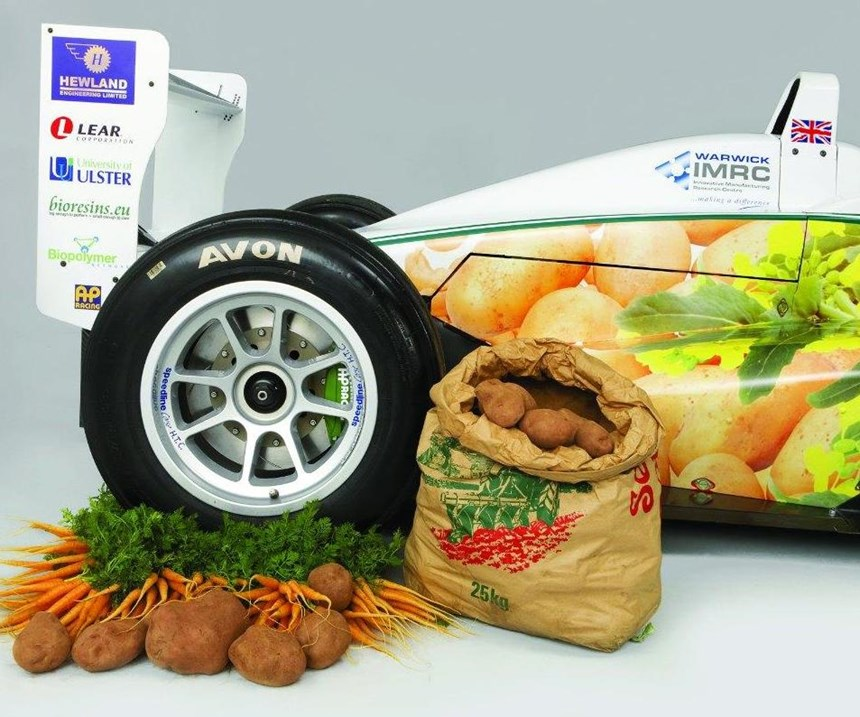 This is not an advertisement for a Formula 3 race car sponsored by a grocery store. Rather, those vegetables are amount the materials that are used in the production of that car. The work was performed by Kerry Kirwan and a team at the Warwick University Manufacturing Research Group, Sustainable Materials and Manufacturing. Potatoes for the body panels and carrots for the steering wheel—and a top speed of 125 mph.