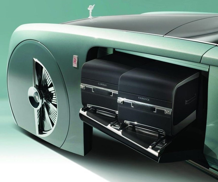 Because it (likely) has an electric powertrain, there is no need for a 6.6-liter W12 engine under the hood. This allows space for two handsome, large pieces of Rolls-Royce luggage.
