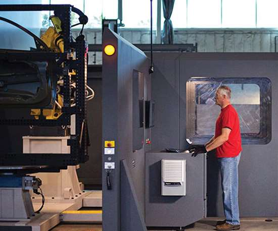 Using a measuring cell provides improved measuring for a variety of workpieces. Changes in parts typically just means reprogramming.