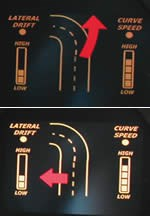 Graphic representations of lane departures