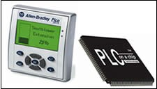 far right: the PLC on a Chip from Divelbiss Corp. Near right, the Allen-Bradley Pico GFX-70 from Rockwell Automation