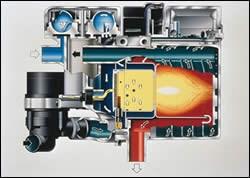 Cold engine coolant flows through the Blue Heat unit