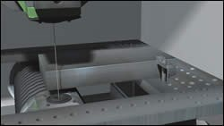 A wire touching off a simulated workpiece