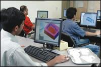 Students using the Cimatron software