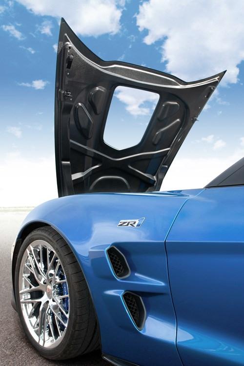 Corvette carbon hood - open