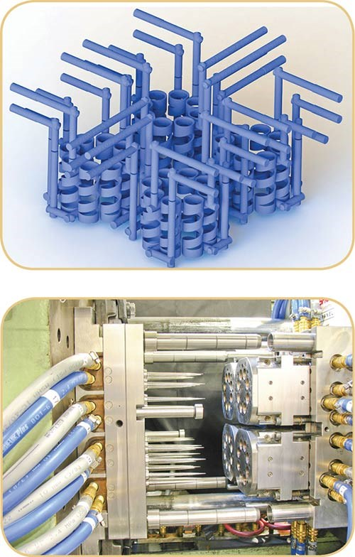 Polyshot pipette-tip mold with conformal cooling channels