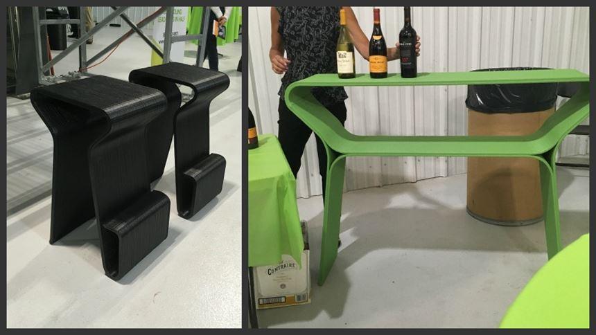 3D-printed bar stools and bar