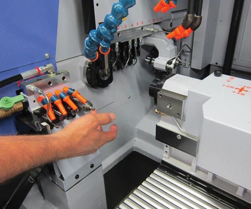 Swiss-type lathe interior nozzles