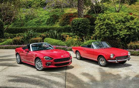 Virgilio Fernandez, chief designer, Interior, Centro Stile, says that the 2017 Fiat 124 Spider plays homage to the original of 1966, yet it brings the design of that early convertible forward in terms of design, technology and execution. Note the similarities between the new 124 and the original. An overall horizontal emphasis and front ends that are slightly undercut and sharp.