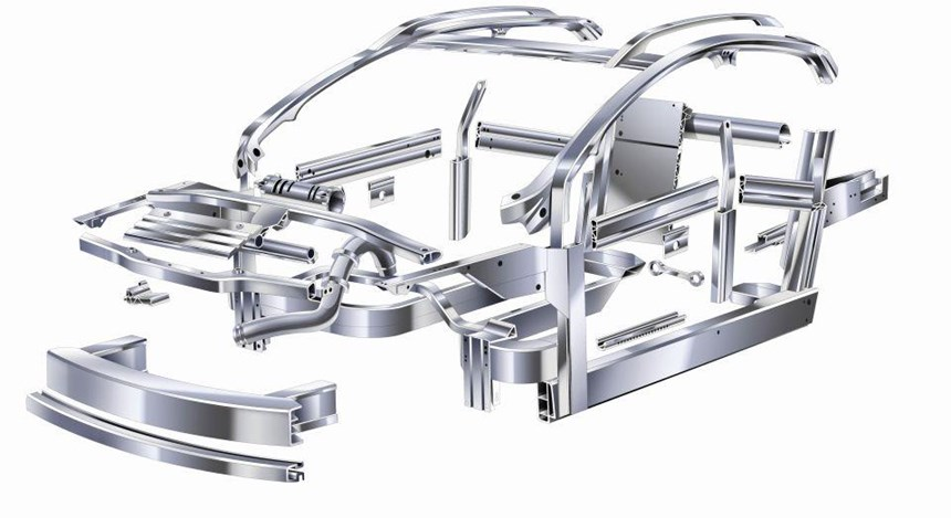 The types of structural parts that can be made with aluminum extrusions.