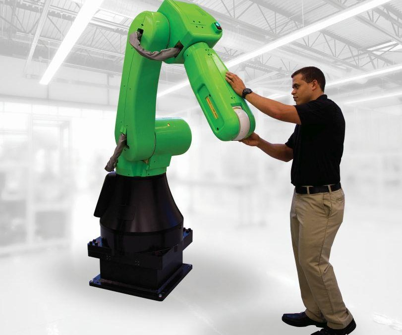 The FANUC CR35iA is a collaborative robot, meaning that it can work without having to be surrounded by a safety fence. It has a 35-kg capacity. Its outer housing is soft in case it should come in contact with the human it is collaborating with (it will also come to a stop). Those familiar with FANUC robots know that they are always bright yellow. But the company's lineup of collaborative robots will be green, indicating that they're safe to get close to.