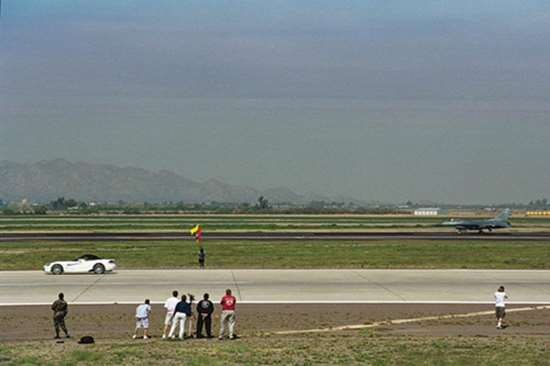 """Viper races an F-16 at Luke Air Force Base, 2003.  The late Dan Knott, then-Director - Performance Vehicle Operations (PVO), DaimlerChrysler, said  that it was great the car won, """"But what was even better was the fact that everyone involved with making the event happen—and even those on  hand to watch it—felt like a winner."""""""