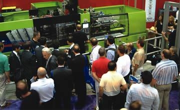 A crowd gathers at Electroform's booth