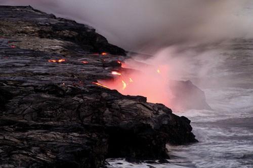 lava on the ocean