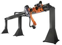 Gantry robot with a linear unit