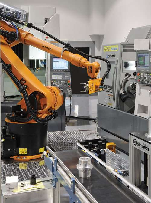 Robot tending a multi-process machine