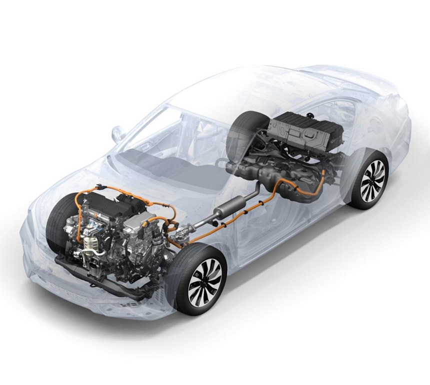 Layout of the Accord Hybrid powertrain system. There is a 2.0-liter Atkinson cycle engine that works with a two-motor hybrid system, with one working as a generator and the other a drive motor. The total system horsepower is 212 @ 6,200 rpm.