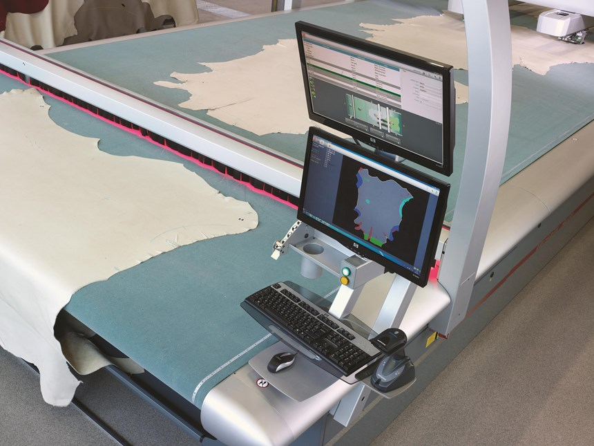 The Versalis cutting system from Lectra displays the status of the machine, current orders in process and leather hides being processed. Sensors scan the fabric's surface and find the optimal path for cutting by recognizing defects. Defects are categorized on four levels of defect-coding and visualized by four colors. This allows greater use of the leather