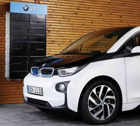 """BMW's i division recently showed how so-called """"2nd Life Batteries"""" can be used as a plug-and-play storage application for residential and commercial back-up power. It is similar in concept to Tesla's Power Wall. Using used BMW i3 batteries, this system would collect energy from solar cells and operate a variety of appliance and devices for up to 24 hours when the grid is down. Alternatively, they could be used to power a dwelling designed to be off the grid. Massively upscaled, this same idea could be used as a buffer for public charging stations in order to reduce the strain on the electrical grid."""