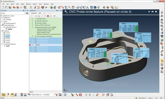 PolyWorks' offline simulation functions automatically generate simulated point cloud data and probed points from CAD geometry. Operators can simulate measured object components, data alignments, data color maps, geometry control tables, 3D-scene snapshots and inspection reports before the real task of inspection measurement.