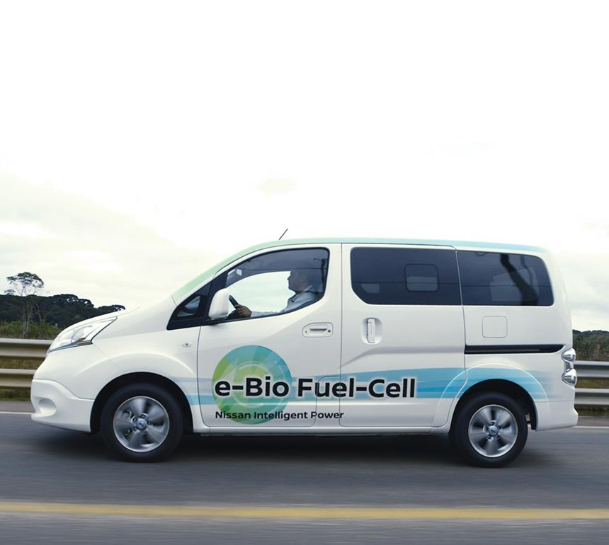 The Nissan solid-oxide fuel-cell on a test stand. Another version  is packaged inside an e-NV200 as a concept vehicle