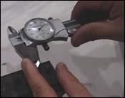 Measuring a fine rib of graphite