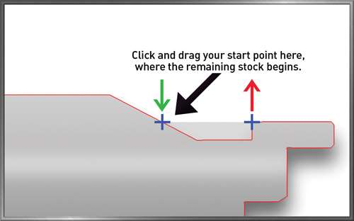 Start point for second turning pass